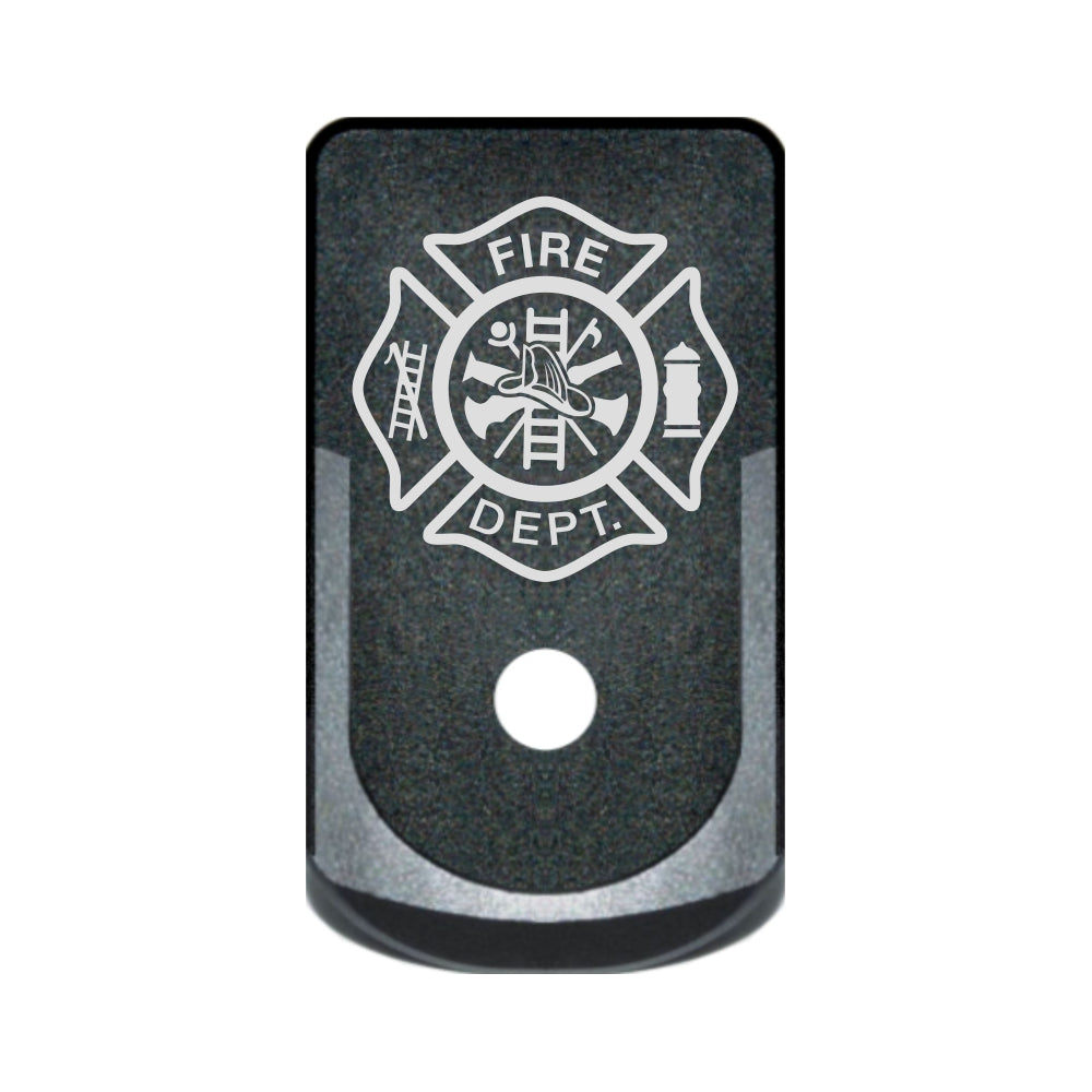 Fire Department crest laser engraved on a grip extended magazine base plate for Glock 43