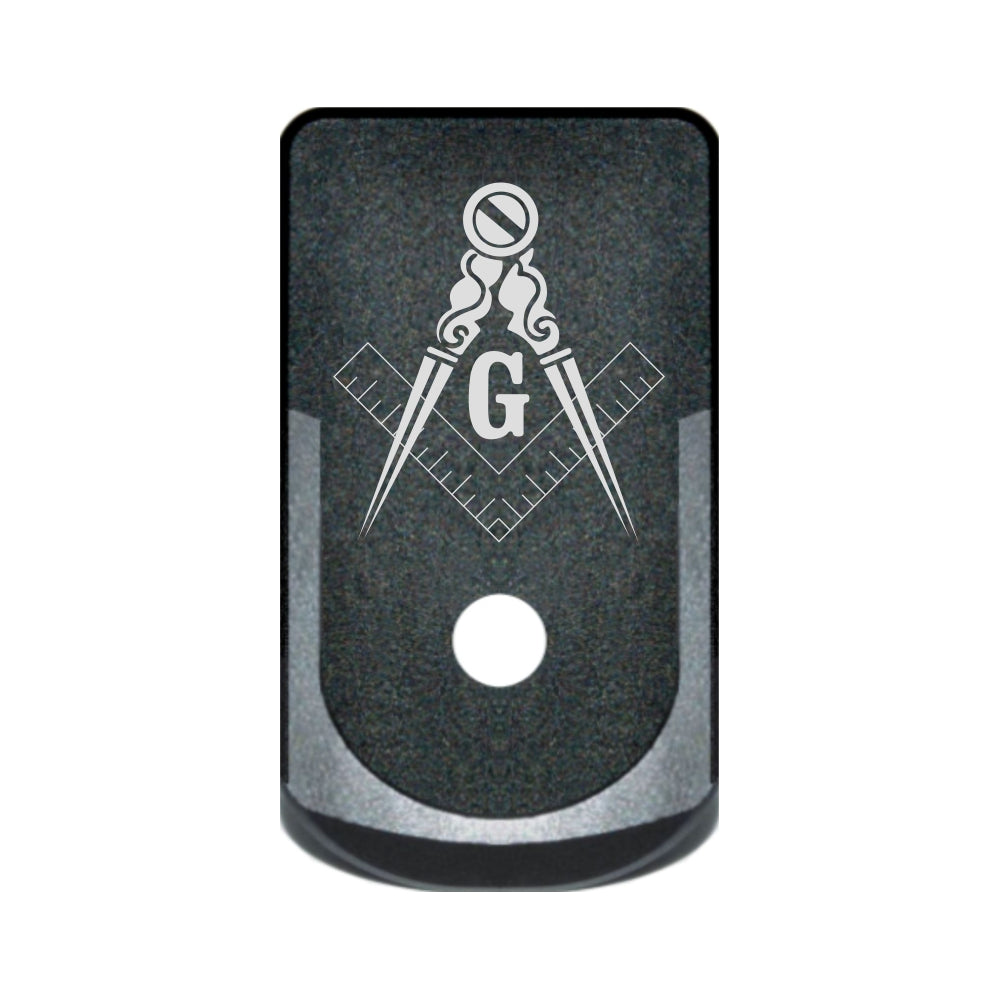 Free Mason Square and Compass laser engraved on a grip extended magazine base plate for Glock 43