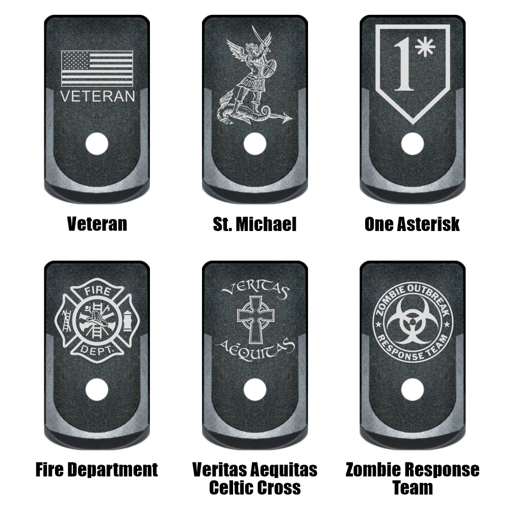 6 Service graphics to choose from laser engraved on 6 grip extended magazine base plates for Glock 43