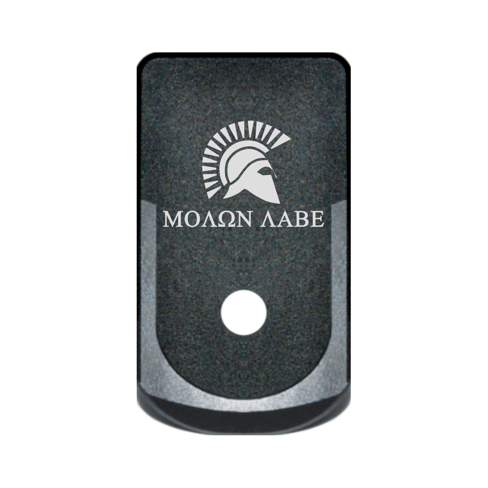 Molon Labe with Spartan Helmet laser engraved on a grip extended magazine base plate for Glock 43