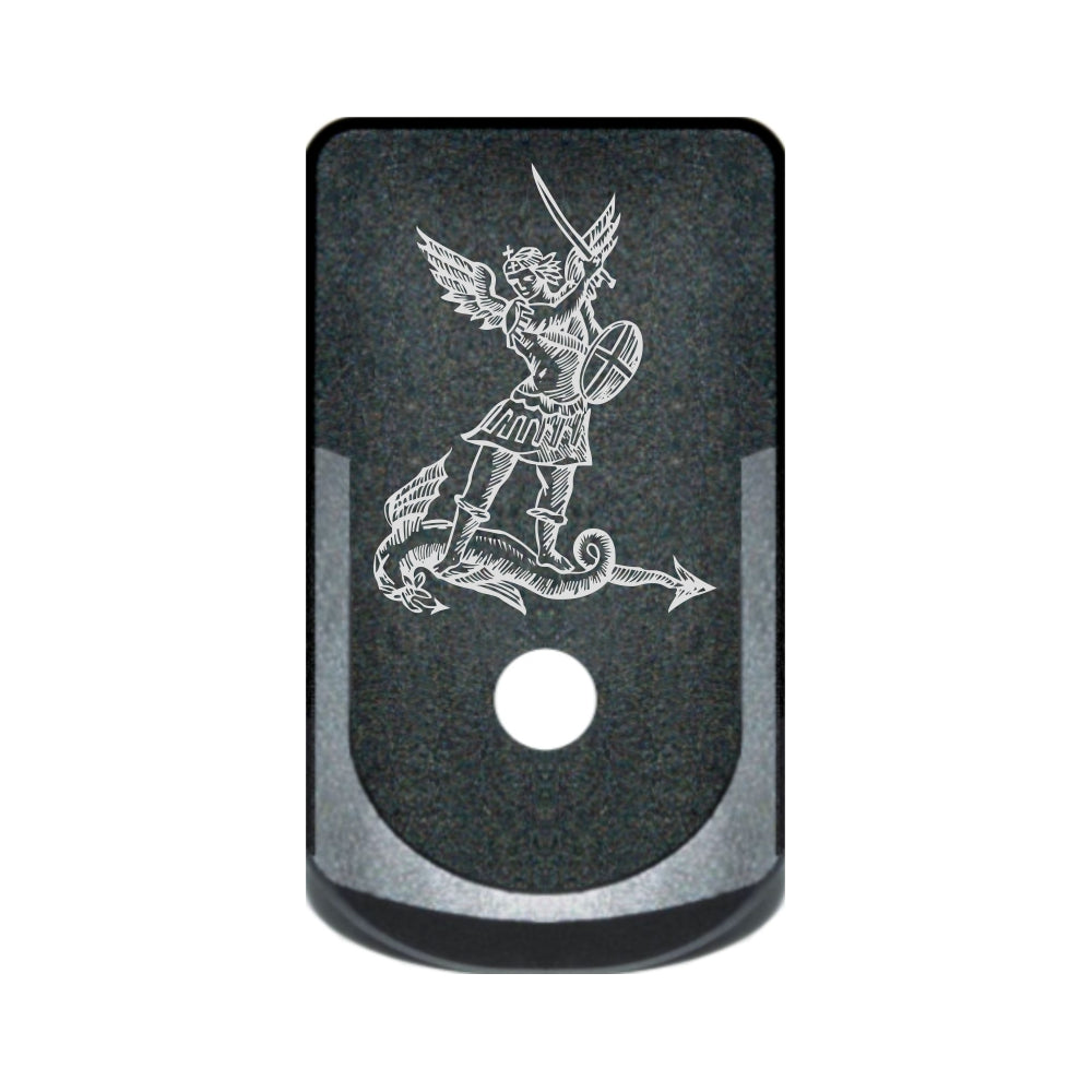 St. Michael laser engraved on a grip extended magazine base plate for Glock 43
