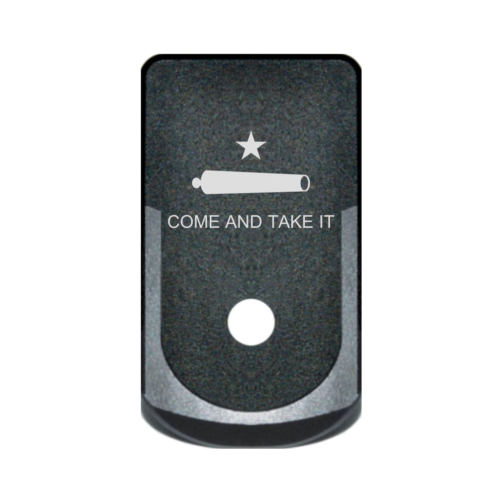 Come And Take It Flag laser engraved on a grip extended magazine base plate for Glock 43