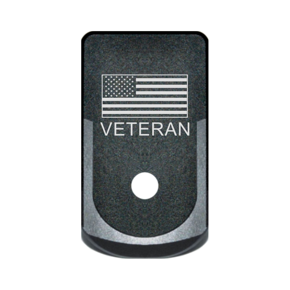 Veteran text and USA flag laser engraved on a grip extended magazine base plate for Glock 43
