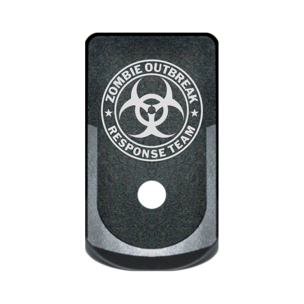Zombie Response Team laser engraved on a grip extended magazine base plate for Glock 43