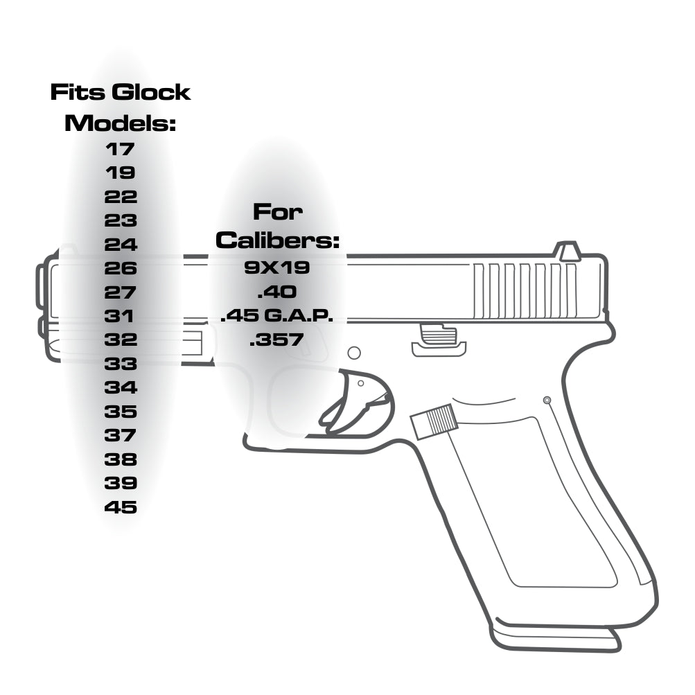 TOP 6 - For Glock 9mm/40cal - Choose your design, Magazine Base Plate, Flat