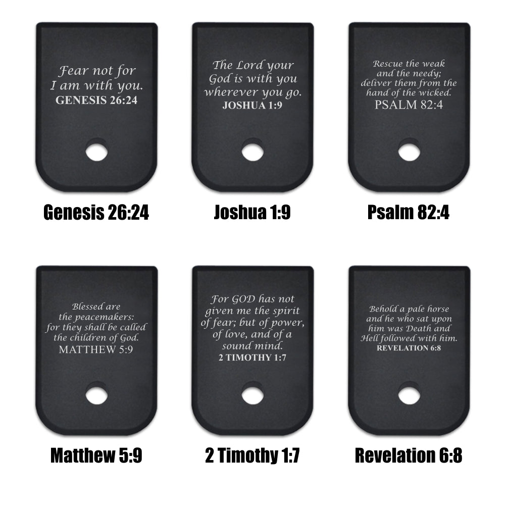 Scriptures - For Glock 9mm/40cal - Choose your design, Magazine Base Plate, Flat