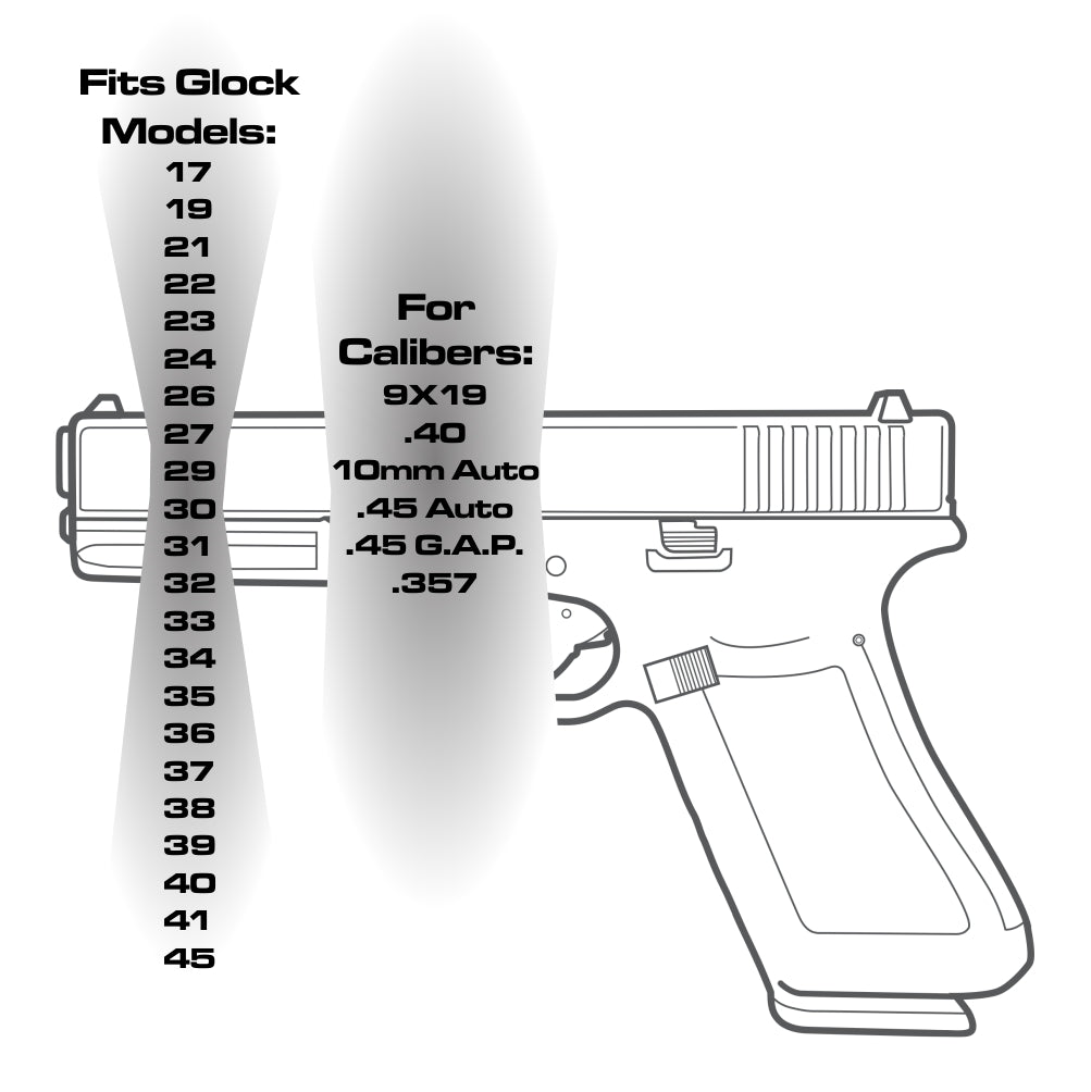 TOP 6 - For Glock Models 17-41 & 45 - Choose your design, Rear Slide Back Plates