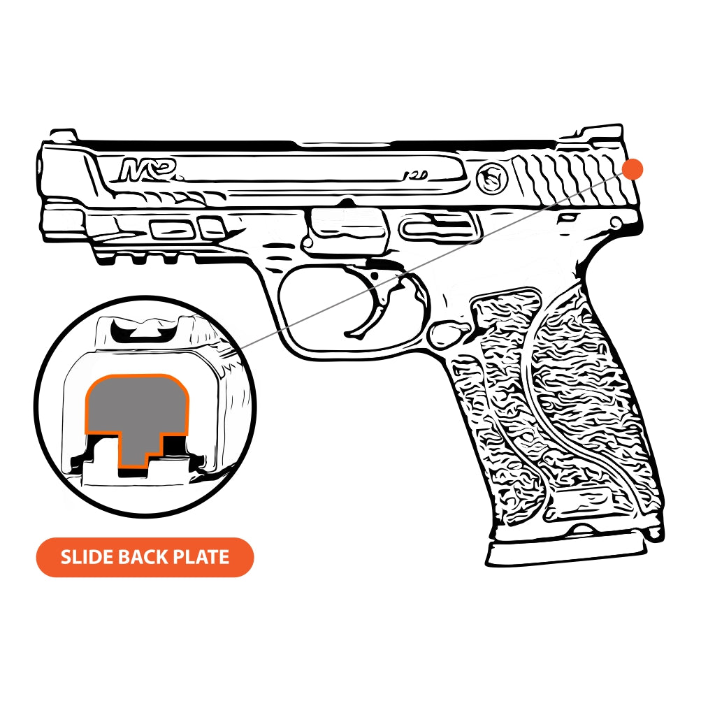TOP 6 - FULL SIZE S&W M&P9/40/45 M2.0 - Choose your design, Rear Slide Back Plates