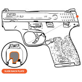 Take A Stand - S&W M&P45 SHIELD SUBCOMPACT - Choose your design, Rear Slide Back Plate