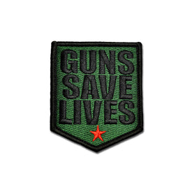 Embroidered Morale Patch - Guns Save Lives - Choose Color