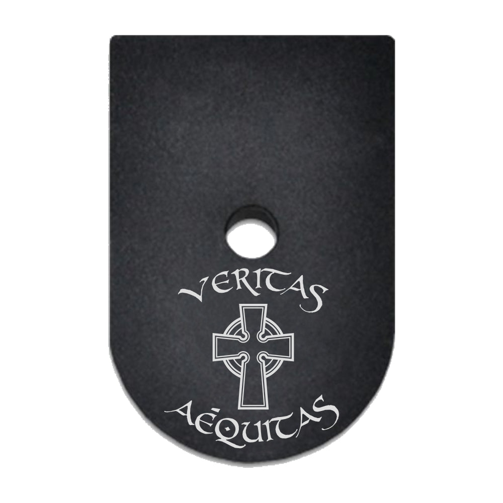 Veritas Aequitas text and Celtic Cross laser engraved on a magazine base plate for Springfield XD 9mm/40cal