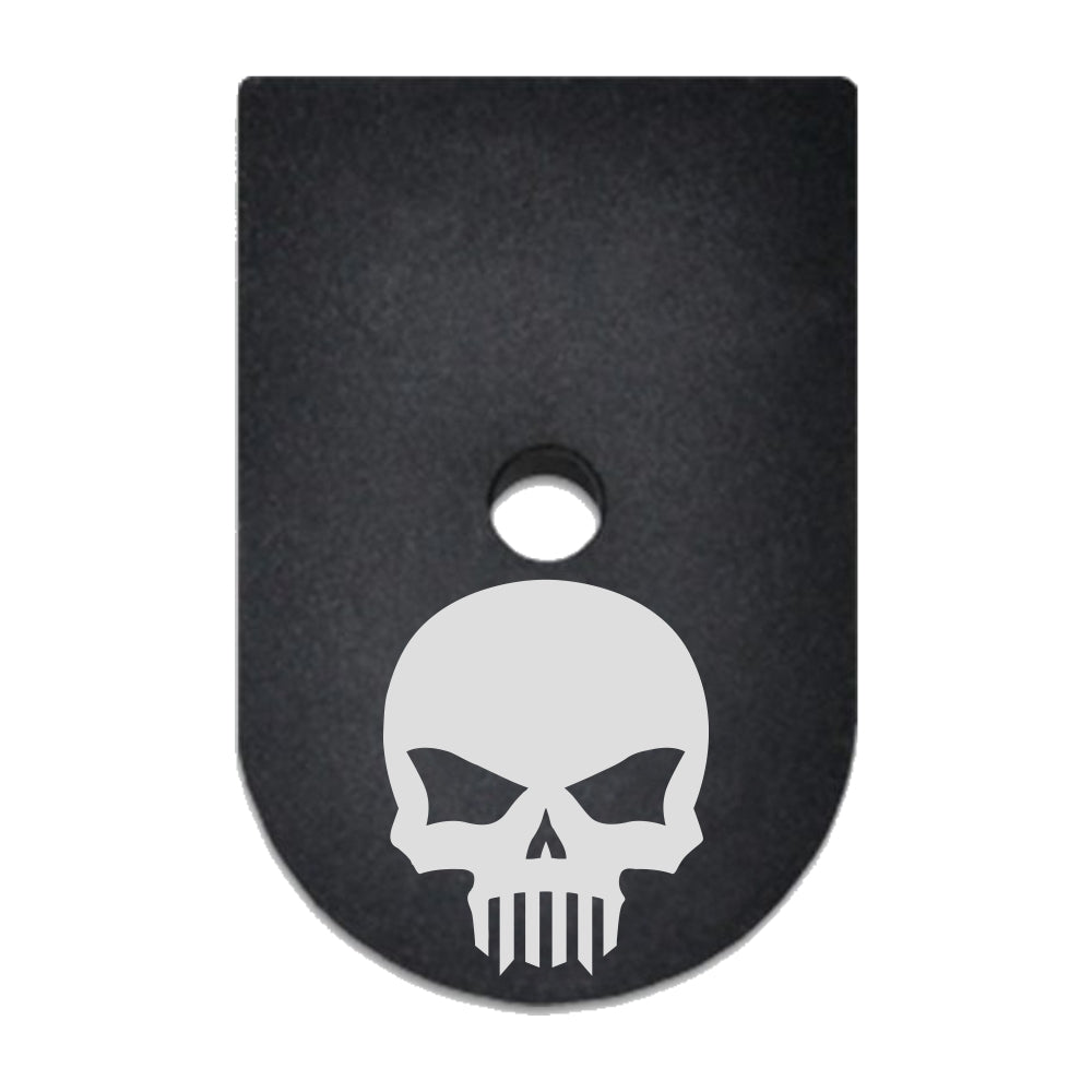 Bastion Skull not Punisher laser engraved on a magazine base plate for Springfield XD 9mm/40cal