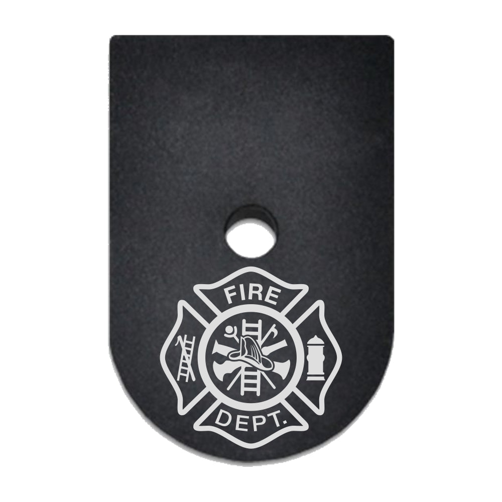 Fire Department crest laser engraved on a magazine base plate for Springfield XD 9mm/40cal