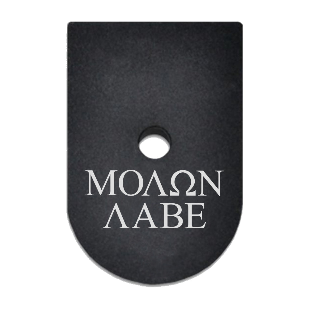 Molon Labe Text laser engraved on a magazine base plate for Springfield XD 45 ACP