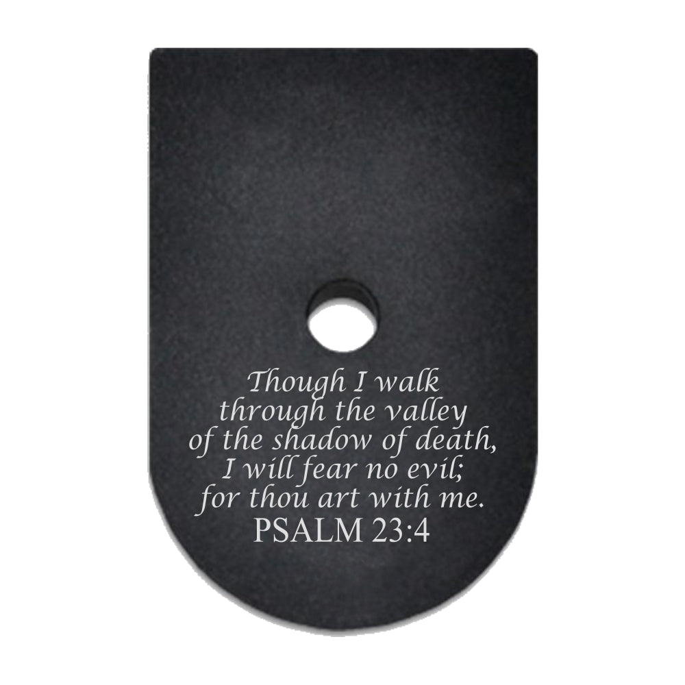 Psalms 23:4 laser engraved on a magazine base plate for Springfield XD 9mm/40cal