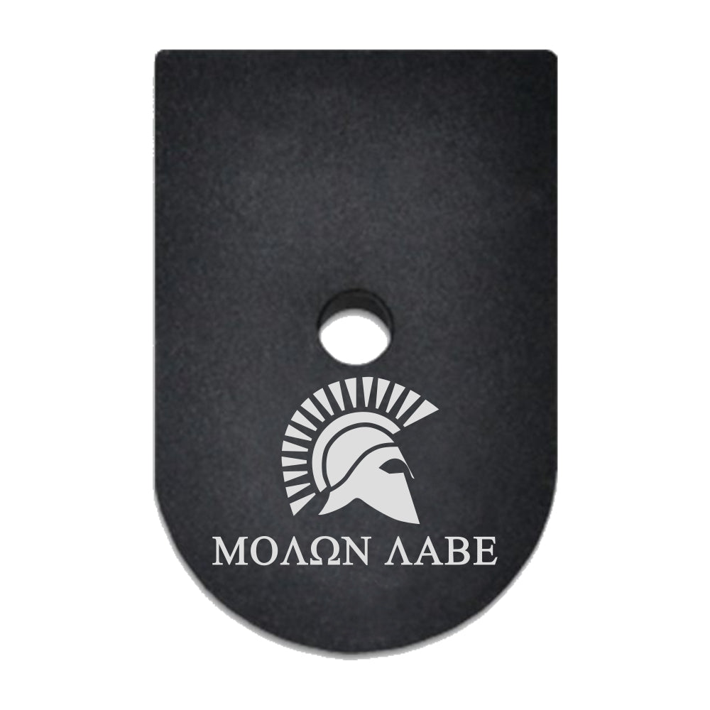 Molon Labe with Spartan Helmet laser engraved on a magazine base plate for Springfield XD 45 ACP