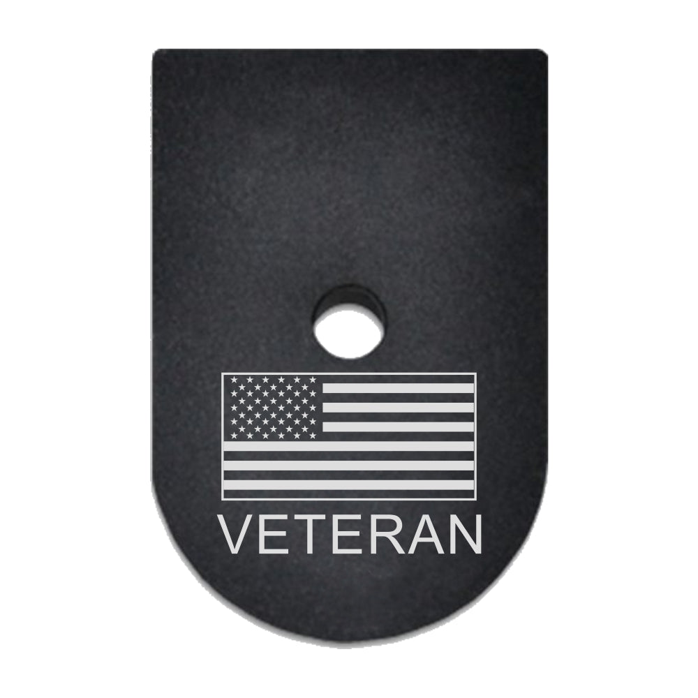 Veteran text and USA flag laser engraved on a magazine base plate for Springfield XD 9mm/40cal