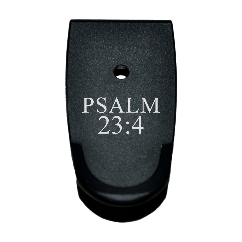 Extended Magazine Base Plate For S&W M&P Shield - Psalm 23:4 Text