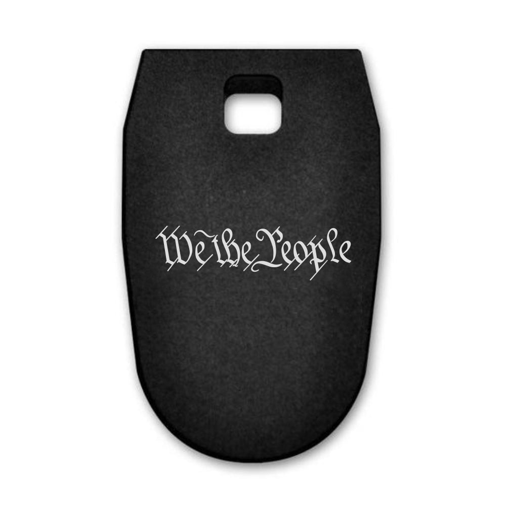 We The People Text laser engraved on a magazine base plate for Smith & Wesson M&P 9mm full size
