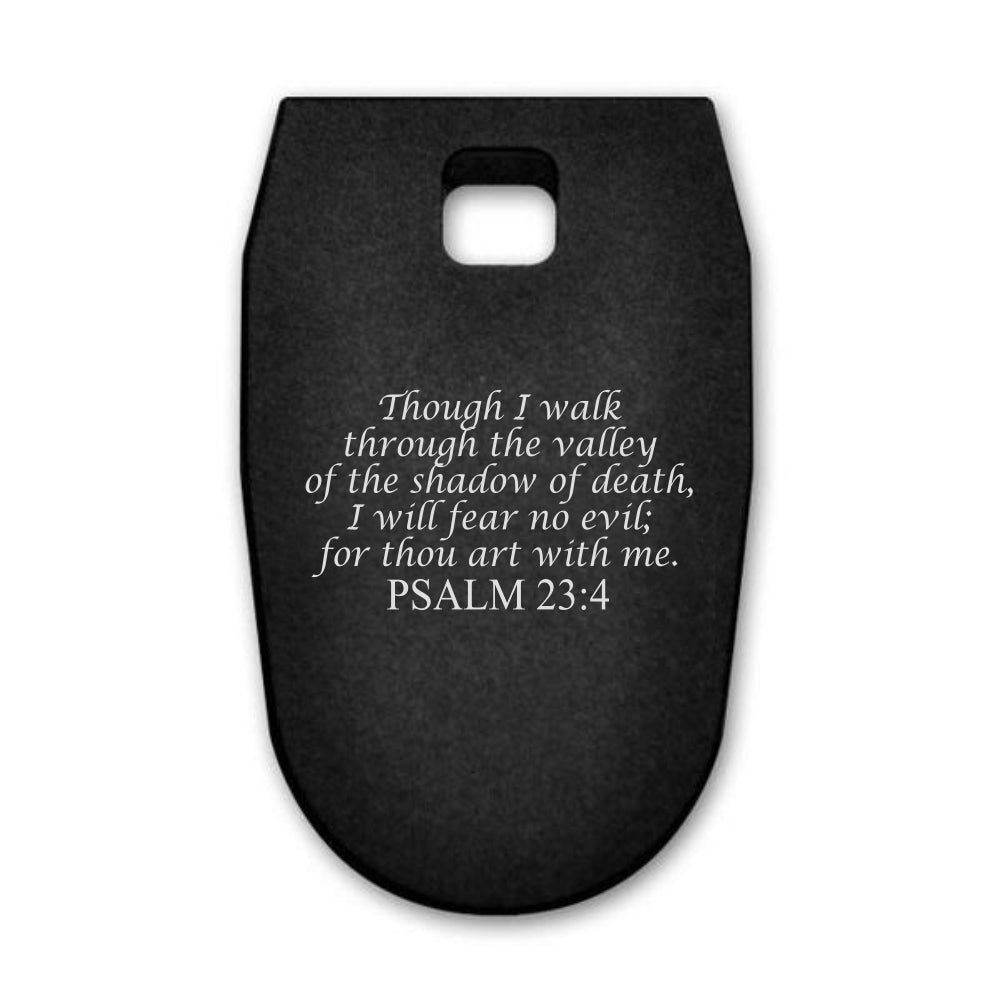 Psalms 23:4 laser engraved on a magazine base plate for Smith & Wesson M&P 9mm full size
