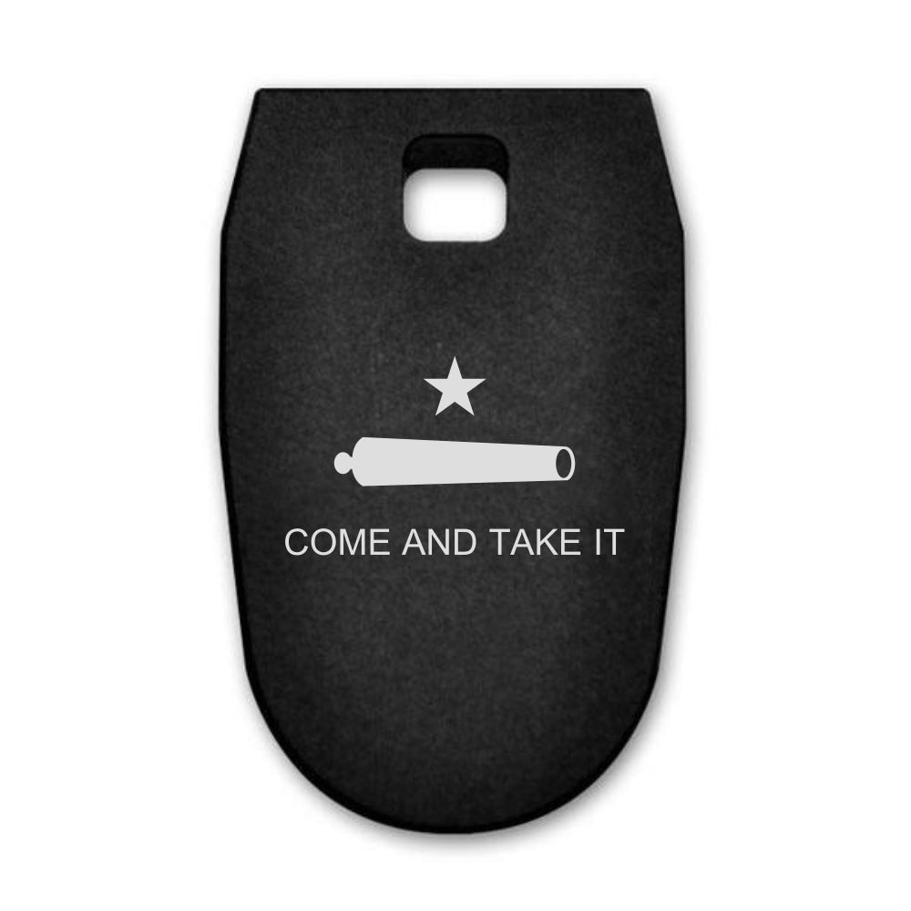Come And Take It Flag laser engraved on a magazine base plate for Smith & Wesson M&P 9mm full size