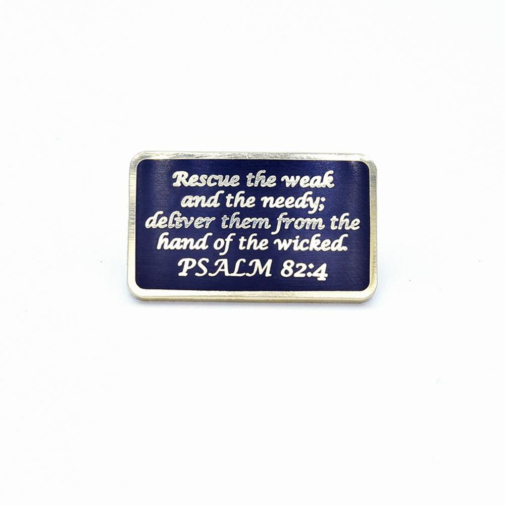 Bastion Morale Lapel Pin Psalm 82:4 Black