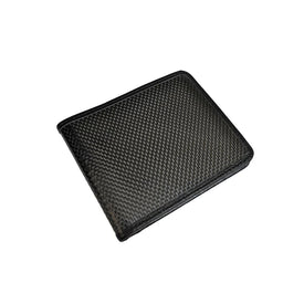 Pure Carbon Fiber And Leather Minimalist Bi-Fold Wallet