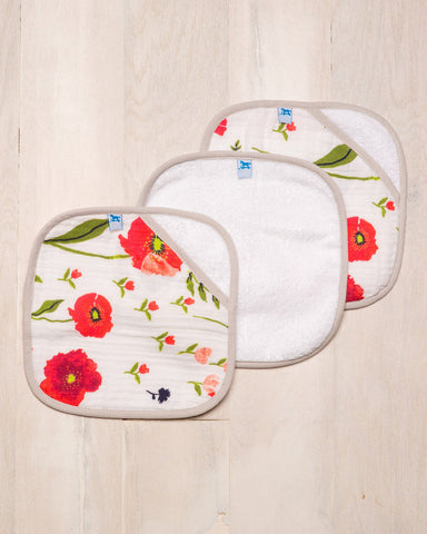 Summer Poppy Washcloth Set|Little Unicorn|NoaVivi Kids - Noa & Vivi Kids Apparel