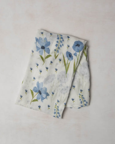 Deluxe Muslin Swaddle Single Blue Windflower - Noa & Vivi Kids Apparel