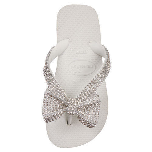 White Bow Flip Flops - Noa & Vivi Kids Apparel