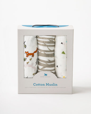 Cotton Muslin Swaddle Blankets Forest Friends Set - Noa & Vivi Kids Apparel