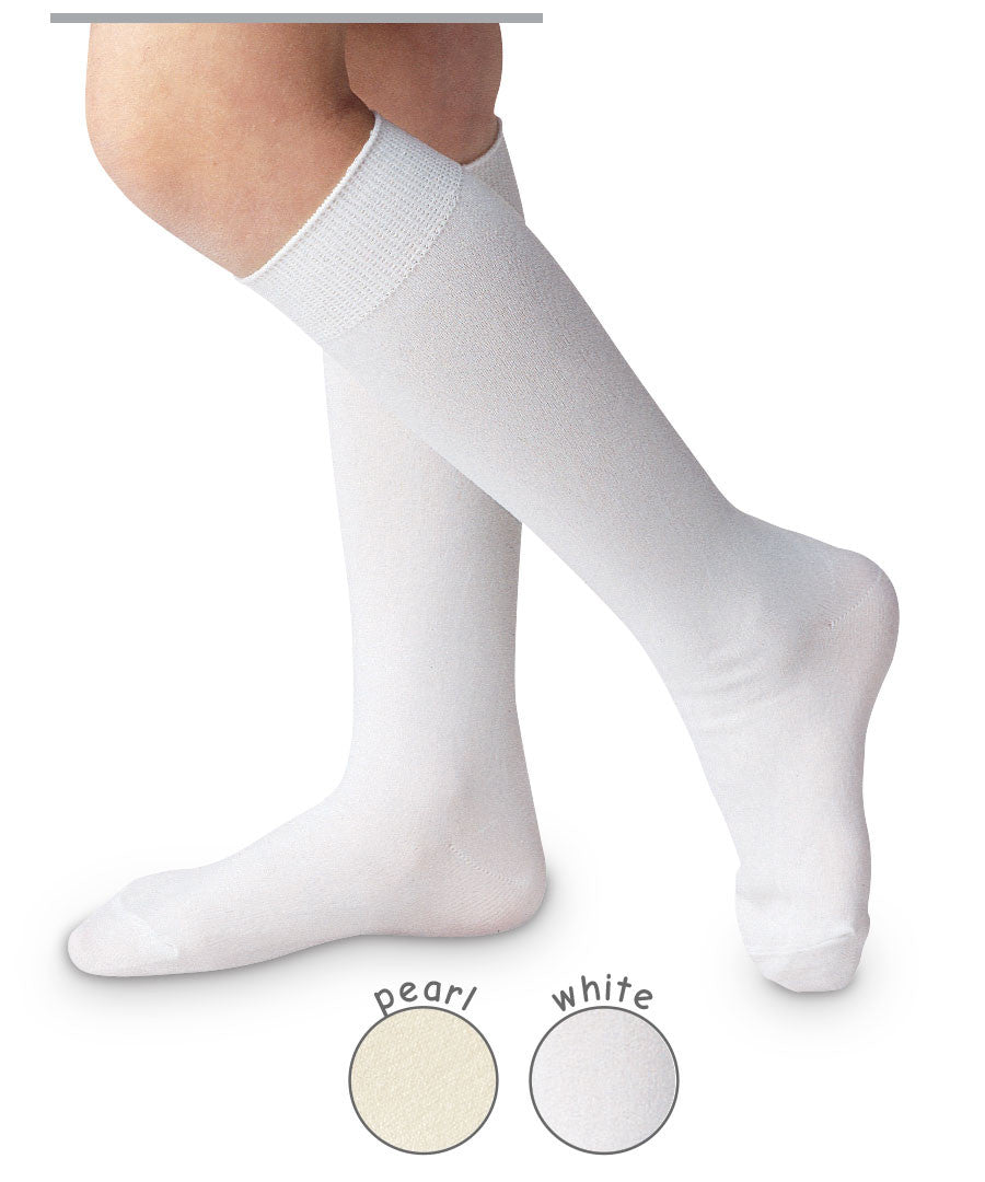 High Class Nylon Knee High Socks in White - Noa & Vivi Kids Apparel