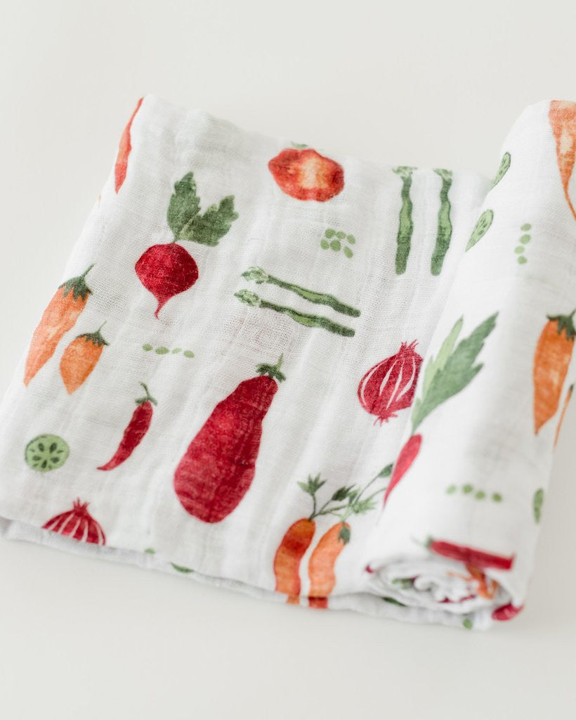 Cotton Muslin Swaddle Single Farmers Market - Noa & Vivi Kids Apparel