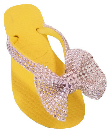 Yellow Bow Flip Flops - Noa & Vivi Kids Apparel