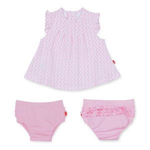 All Heart Cotton Magnetic Bubble Dress & Diaper Cover Set - Noa & Vivi Kids Apparel