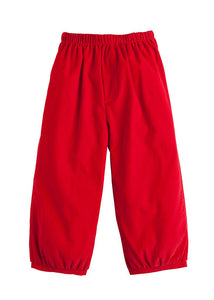 Banded Pull on Corduroy Pant in Red