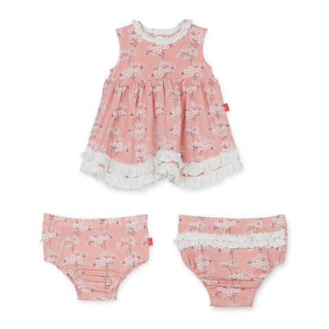 Cherry Blossom Modal Magnetic Dress/ Diaper Cover - Noa & Vivi Kids Apparel