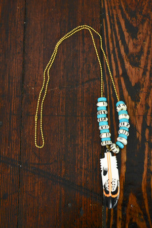 Little Bear Paw Feather Necklace in Turquoise - Noa & Vivi Kids Apparel
