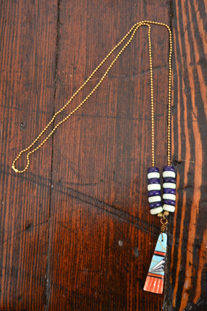 Wild Child Necklace in Navy and Mint with Turquoise - Noa & Vivi Kids Apparel