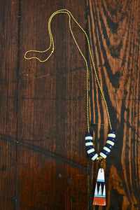 Wild Child Necklace in Navy and Mint with White - Noa & Vivi Kids Apparel