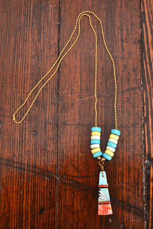 Wild Child Necklace in Turq and Yellow with Orange - Noa & Vivi Kids Apparel