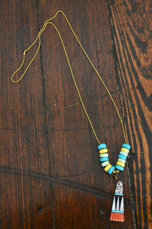 Wild Child Necklace in Turq and Yellow with White - Noa & Vivi Kids Apparel