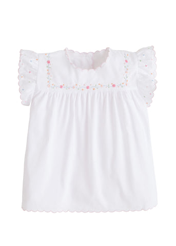 Flower Chain Tea Blouse - Noa & Vivi Kids Apparel