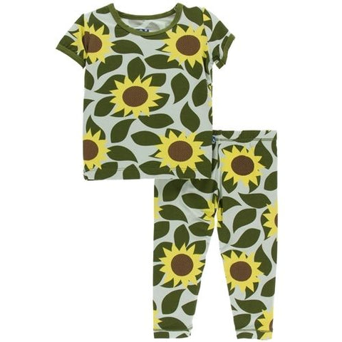 Short Sleeve Pajama Set in Aloe Sunflower - Noa & Vivi Kids Apparel