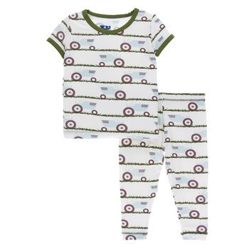 Short Sleeve Pajama Set in Natural Tractor and Grass - Noa & Vivi Kids Apparel