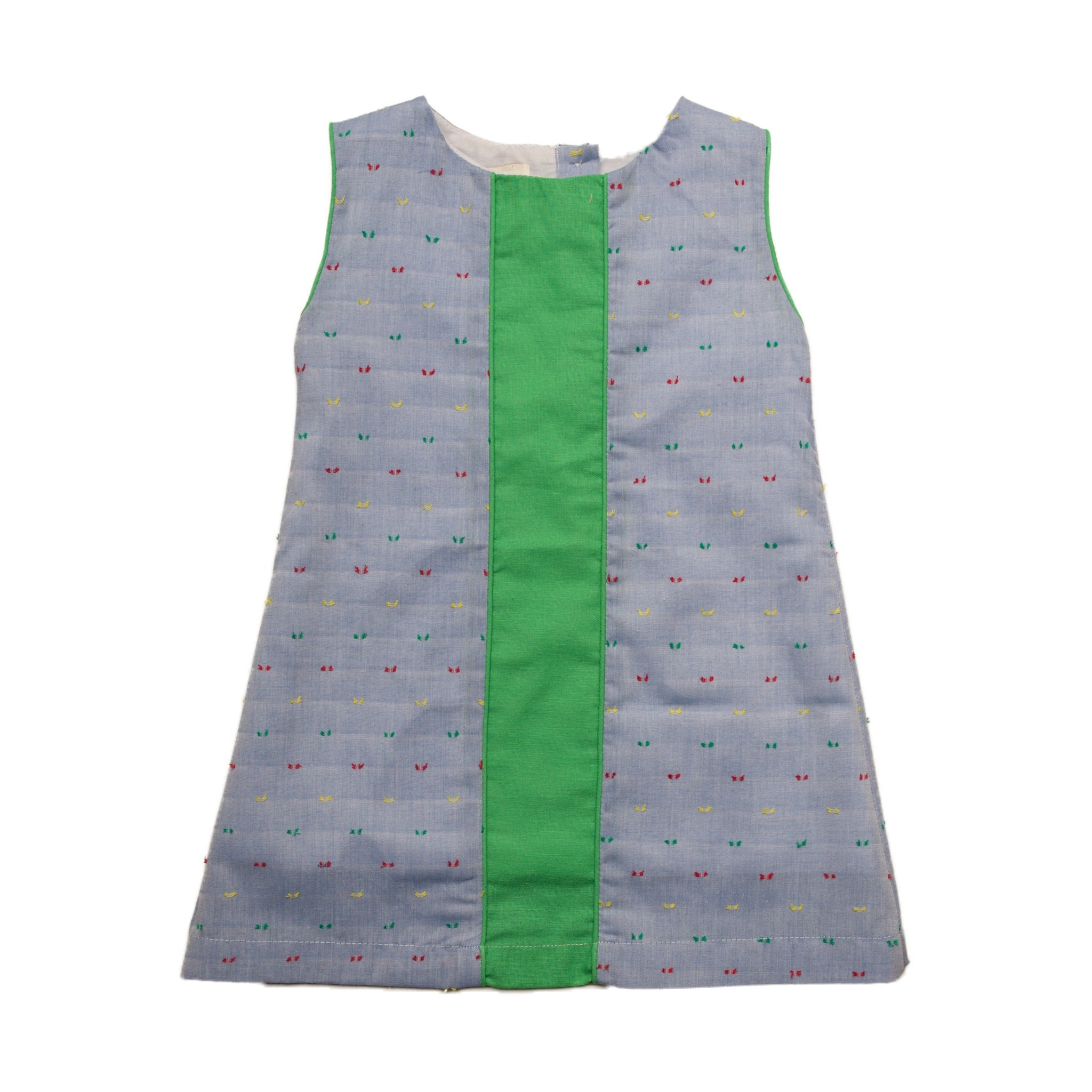 Oaks Apparel Bitty Chambray Swiss Dot with Green Dress - Noa & Vivi Kids Apparel