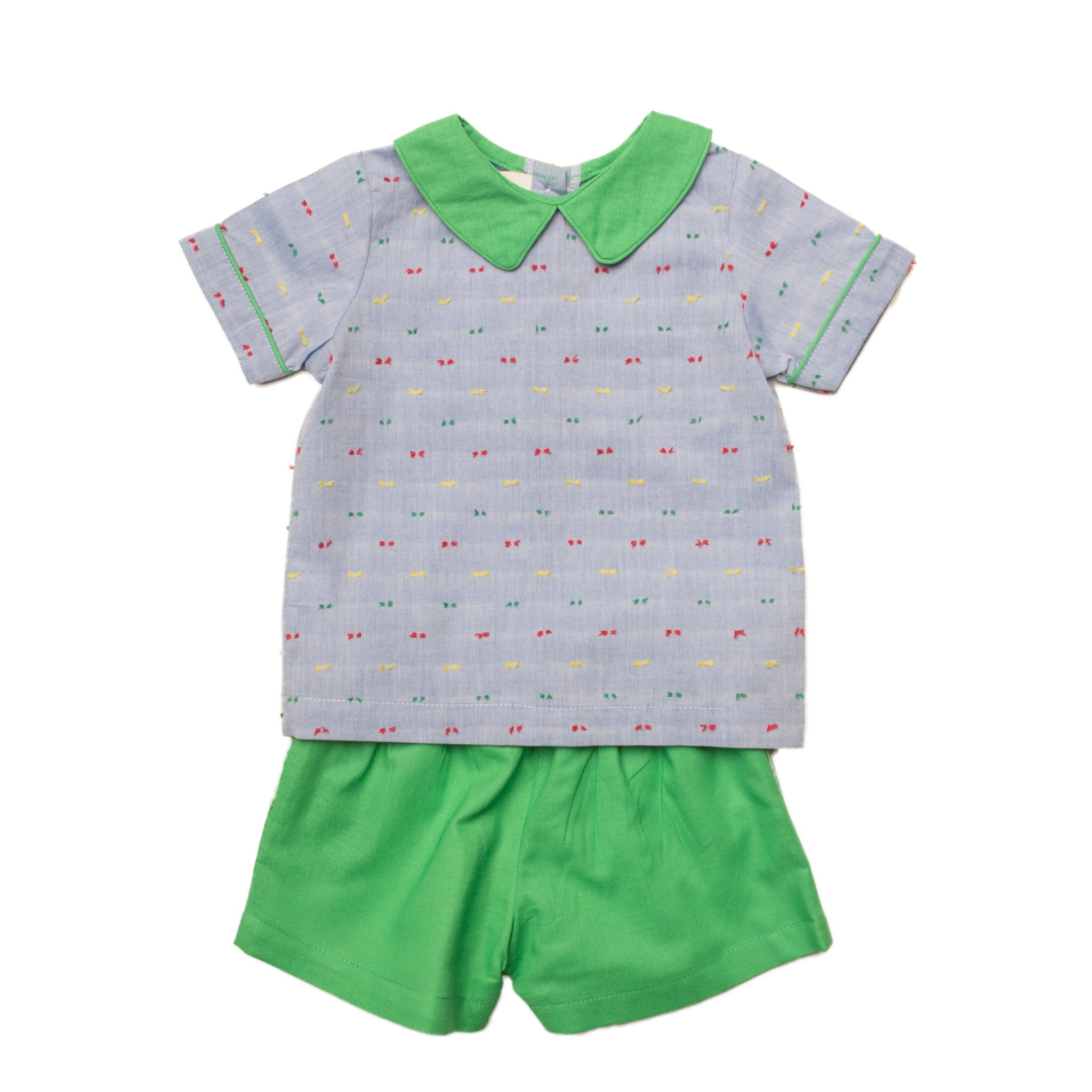 Oaks Apparel Browning Chambray Swiss Dot w/ Green Short Set - Noa & Vivi Kids Apparel