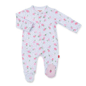 Strawberries & Cream Cotton Magnetic Footie - Noa & Vivi Kids Apparel