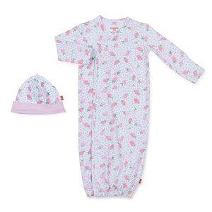 Strawberries & Cream Cotton Magnetic Gown & Hat Set - Noa & Vivi Kids Apparel