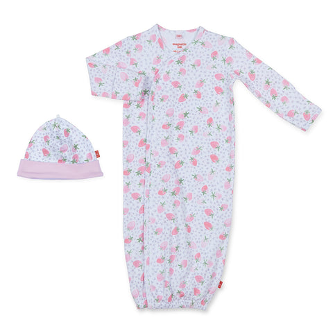 Strawberries & Cream Cotton Magnetic Gown & Hat Set